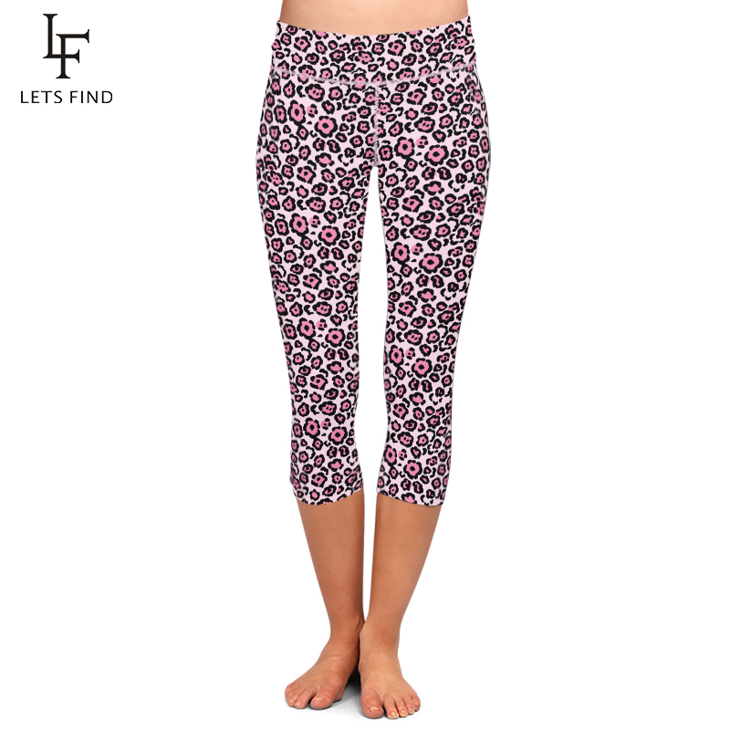 LETSFIND Sexy Women Capri Pants 3D Pink Leopard Grain Print Fitness Leggings Fashion High Waist Stretchy Mid-Calf Leggings