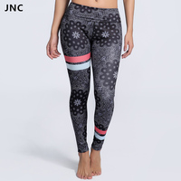 JNC Noir Soleil Fleurs Imprimé Yoga Pantalon pour les Femmes Coloré Bande de Remise En Forme De Yoga Courir Sport Pantalon De Compression Collants À Séchage Rapide