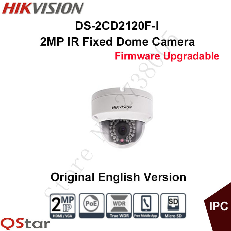 Hikvision Original English Security Camera DS-2CD2120F-I POE 2MP IR Fixed Dome IP Camera 30m Onvif CCTV Camera Vandal-proof IP66 hikvision ds 2de7230iw ae english version 2mp 1080p ip camera ptz camera 4 3mm 129mm 30x zoom support ezviz ip66 outdoor poe