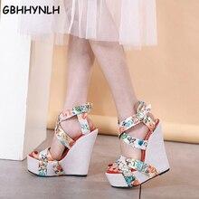 GBHHYNLH Print Floral Wedges Shoes For Women High Heels Sandals Summer Women's Shoes Peep Toe Wedges Platform Sandals LJA734