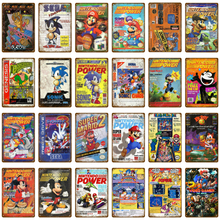 Классический постер для видеоигр, nintendo power, мультяшная Наклейка на стену с Супер Марио, sega Gamer, настенная живопись, доска, декор для комнаты