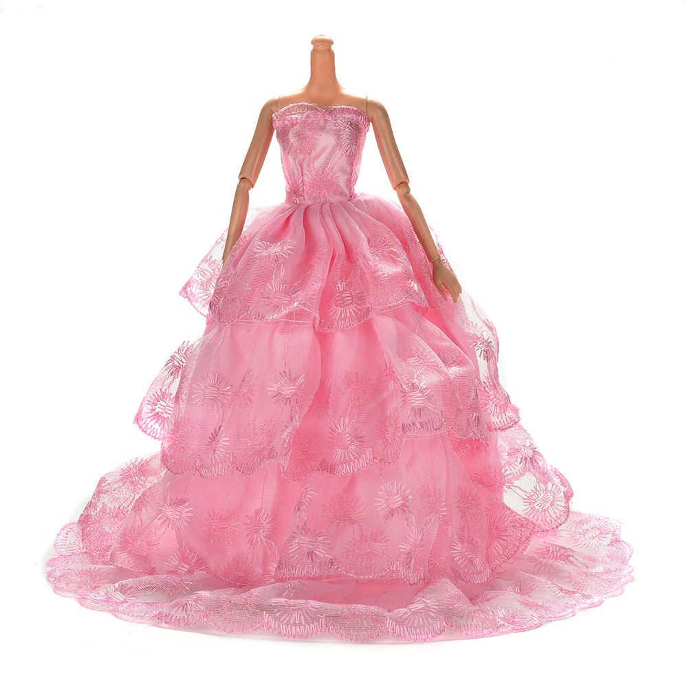 Fashion Handmake wedding Gown Dress Clothing For Barbie doll Princess Outfit Clothes Girls Gift Pink Color Wholesale 1Pcs
