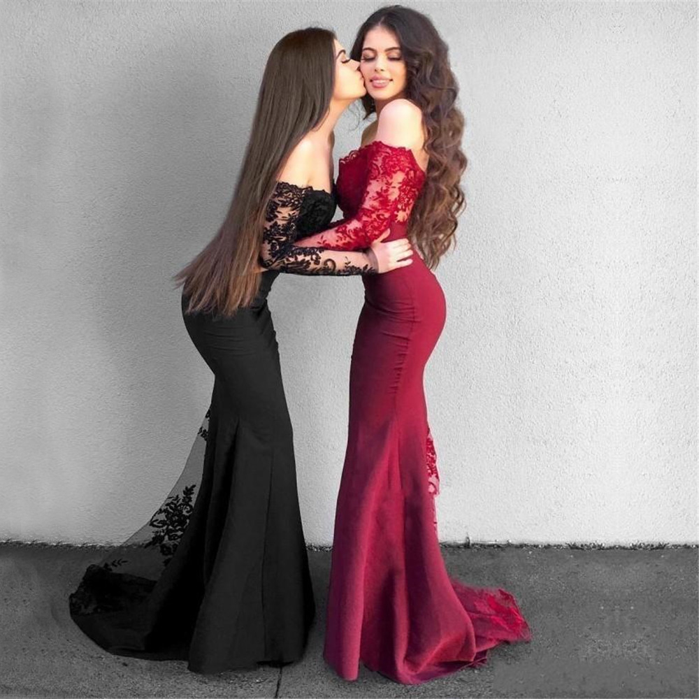 2019 Long Sleeve Black Wedding Guest   Dress   Boat Neck Mermaid Lace Elastic Satin Burgundy   Bridesmaid     Dresses   Cheap Custom Made