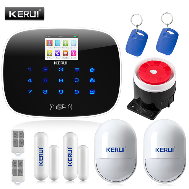 KERUI G19 TFT Large Screen Display GSM Dialer Wireless Home Security Alarm System with RFID Tags Intelligent Switch Control