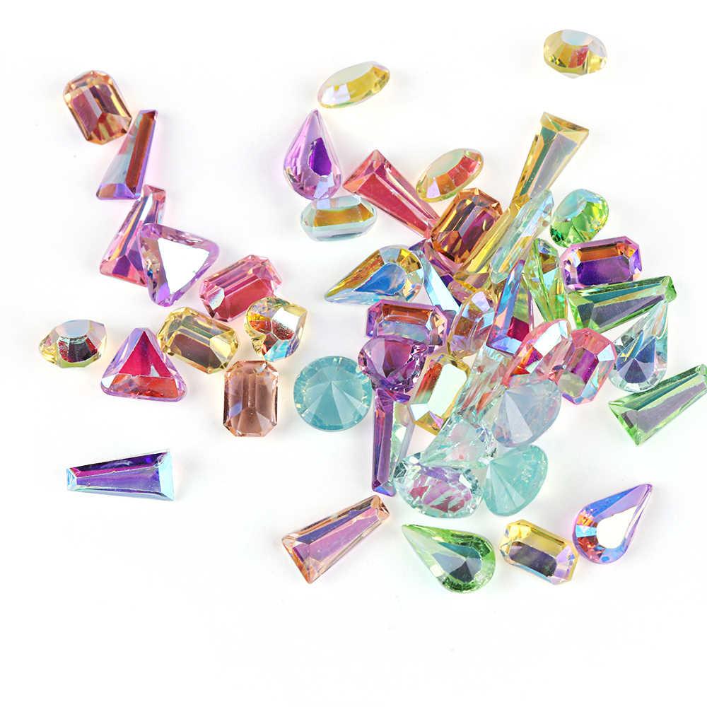 1 パック AB 売春ガラス爪ラインストーンダイヤモンドティアドロップ馬の目クリスタル石光沢のある宝石マニキュアの装飾
