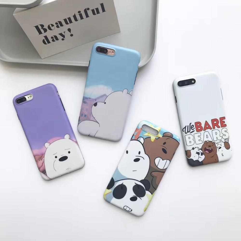 We Bare Bear Phone Case For iPhone 6 6s plus Cartoon Capa Soft Silicone case Back