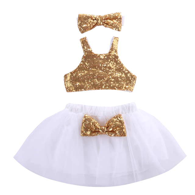 89c4a6c81174 Baby Girl Sequins Gold Sleeveless Vest Tops+Tutu Dress Headband 3pcs ...