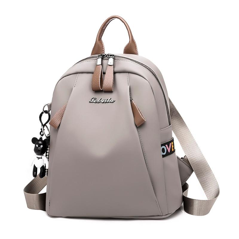 S.l.disi Pu Leather Backpack Women Cute Small Bear School Shoulder Bag Rear Double Pull Head Girls Bag Waterproof Backpack Bag