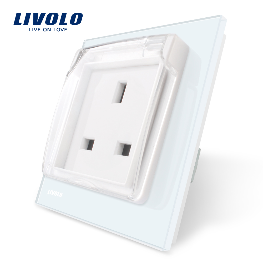 Livolo EU Standard UK Socket, White Crystal Glass Panel, AC110~250V,13A Wall Outlet, C7C1UKWF,with the Waterproof Cover.