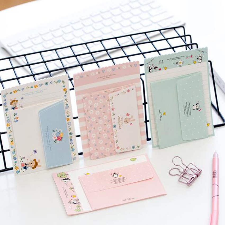1set/lot Cartoon Greeting Card Writing Paper Letter Invitation Paper Stationery With Envelope Set