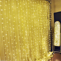 LED Curtain String Light 3X3M 300Leds Waterproof Warm White Christmas Icicle Fairy Lights For Indoor Wedding