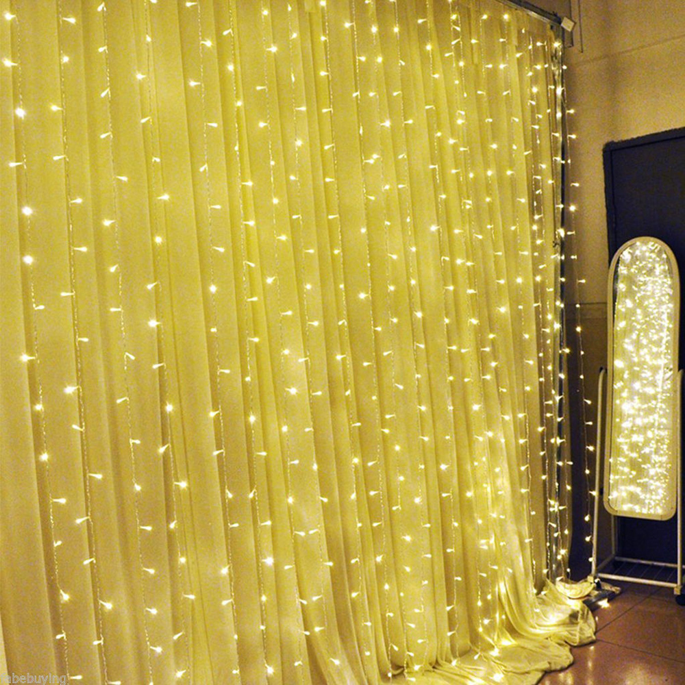 3x3M 300 Led Curtain String Lights Garland Outdoor Waterproof Flasher Fairy Light Christmas Valentines Wedding Window Decoration window sailboat sea waterproof bath curtain