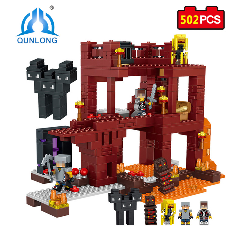 Qunlong Toys MY WORLD Minecrafted City Building Blocks Volcanic Bricks Educational Toy For Children Gifts Compatible With Legoe qunlong 0521 my world volcano mine building blocks toy compatible legoe minecraft building block city educational boys toy gift