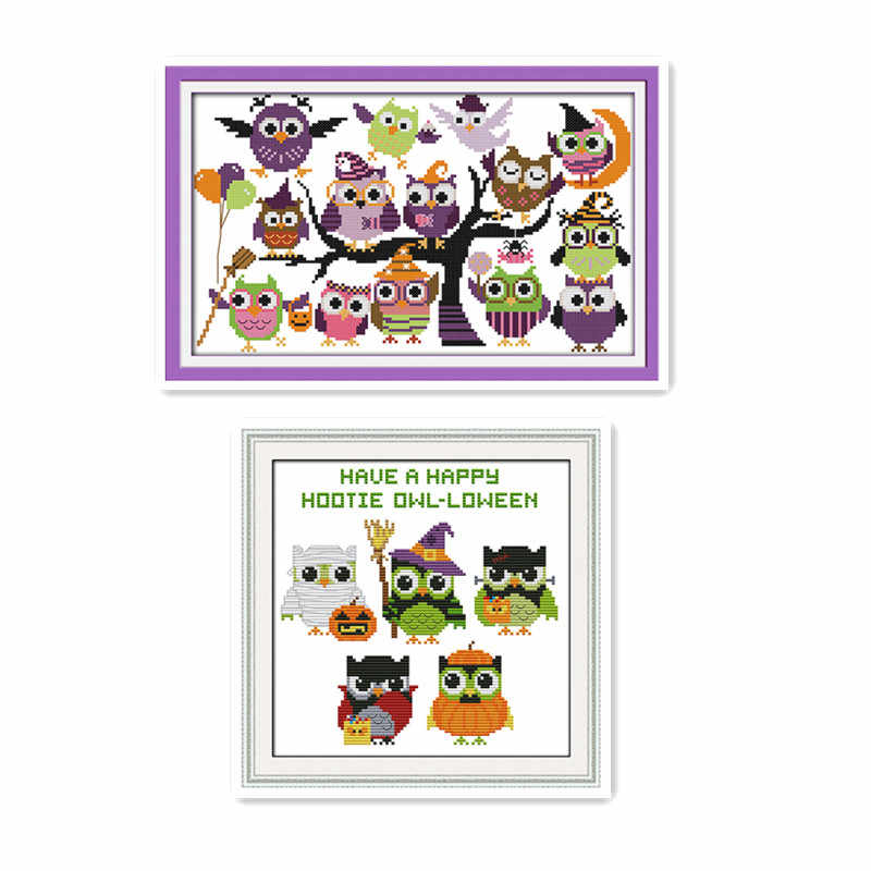 Cartoon Animal Cross Stitch Kit Funny Halloween Small Size Child Student Manual Class Simple Embroidery Sewing Decoration