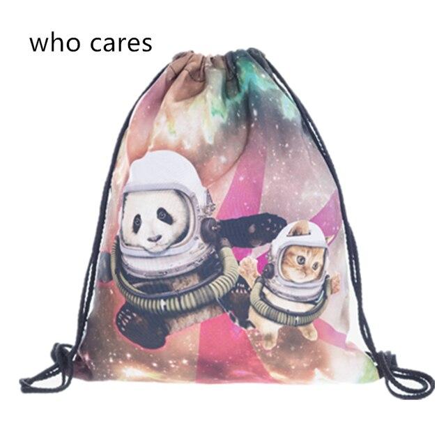 Who Cares 3D Printing Backpack Galaxy Panda Mochila Feminina Women daily  Shopping Casual Drawstring Bag Girl