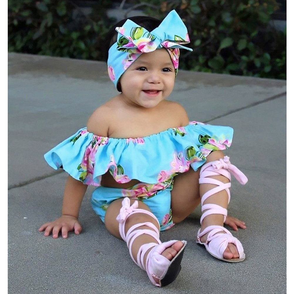 Adorable Baby Girls Summer Clothes Sets Floral Ruffle Romper+Shorts Sun suit Outfits Set Bow knot Head Wear Beach Outfit Suit