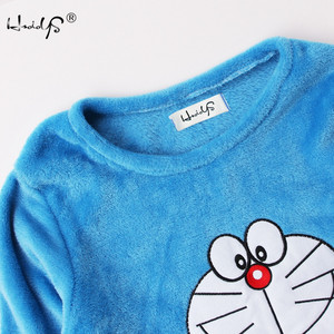 Image 2 - Herbst Und Winter Frauen Pyjamas Sets Dicke Warme Korallen Samt Anzug Flanell Langarm Weibliche 2PCS Kätzchen Druck Hosen nachtwäsche