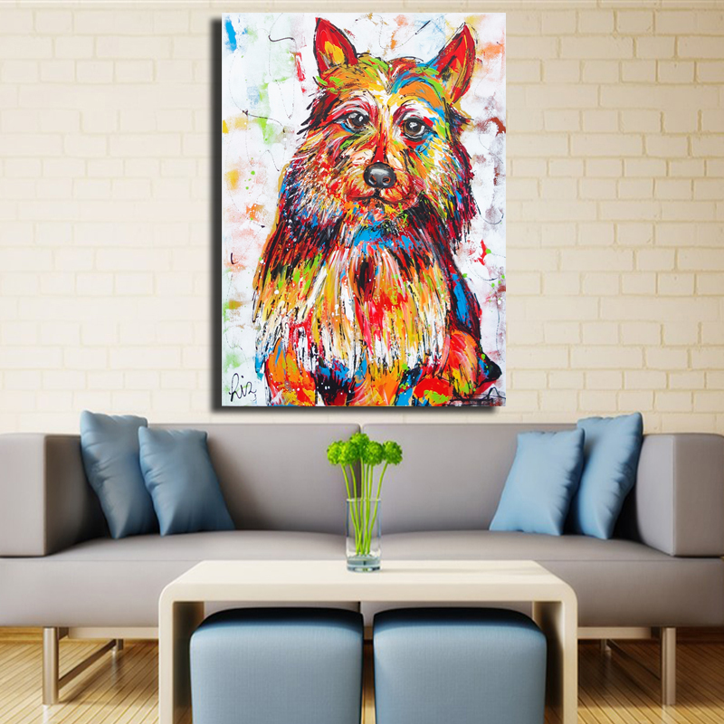 Canvas Graffiti Painting Animal Colorful Dog Canvas Poster
