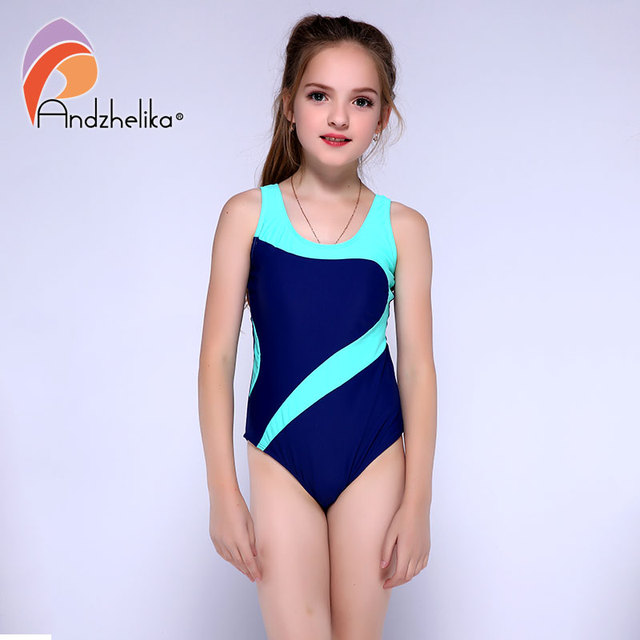 Andzhelika Childrens One-Piece Suits Swimsuit Girls Beach Sport Bodysuit Solid Patchwork Kid Bathing Suit Girl Monokini AK81774