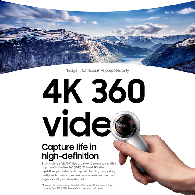 Samsung Gear 360 Real 4K VR Video Camera 2017 Edition WiFi 360 Live for iPhone X 8 7 6s plus for Android Smartphone PC