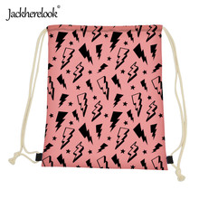 Jackherelook Cartoon Lightning Pattern Drawstring Bag Bagpack Bag Kids Drawstring Organizer Pouch Girls Canvas Schoolbags Pocket