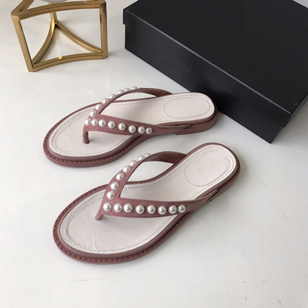 2019 New Fashion Women s Shoes Genuine Leather Summer Beach Flip Flops Pearl Outside Female Flat