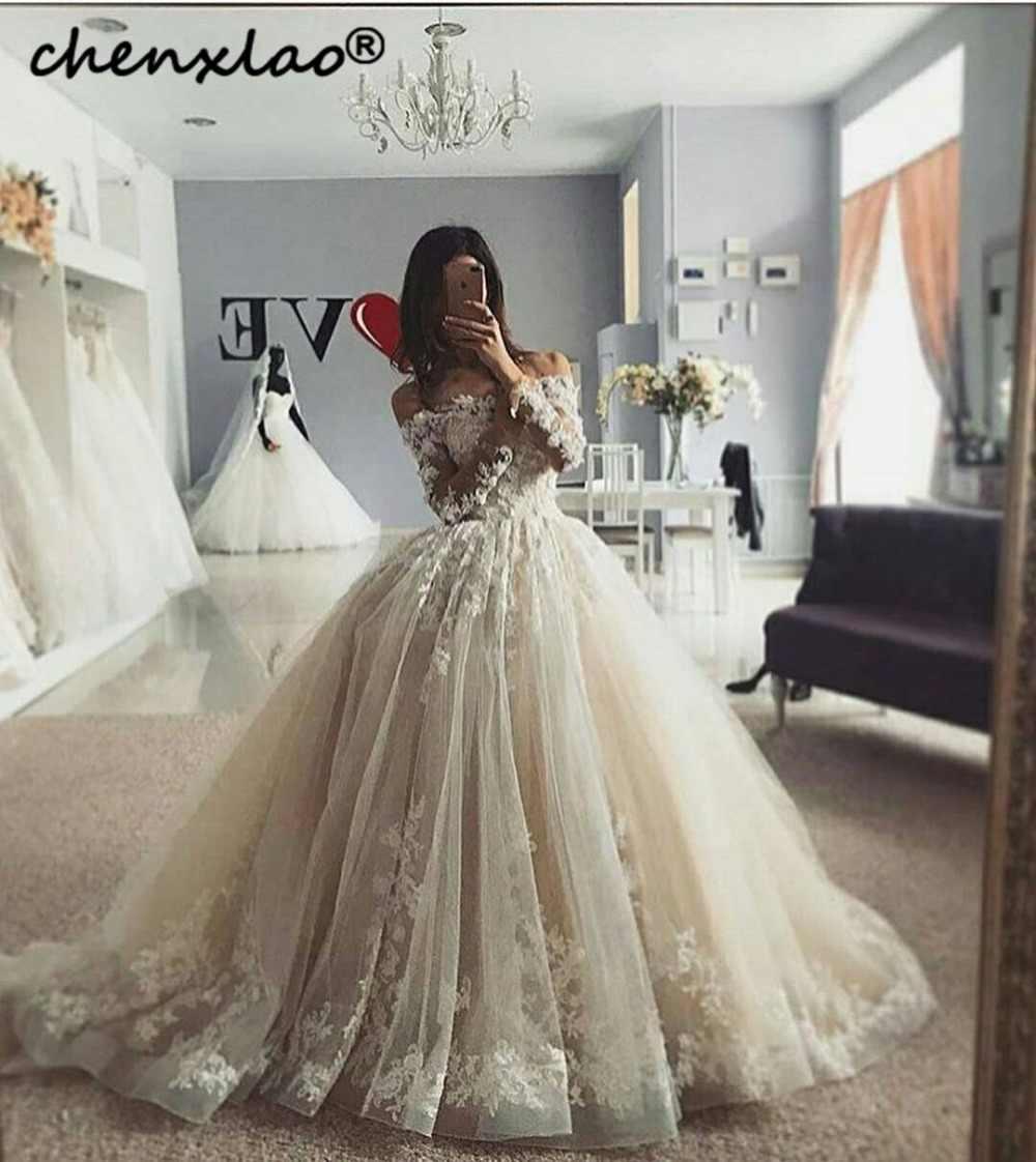 2019 חדש רישום שנהב חתונת שמלת תחרת אפליקציות חרוזים כבוי כתף שרוולים באורך רצפת חתונה שמלות Robe De Mariage