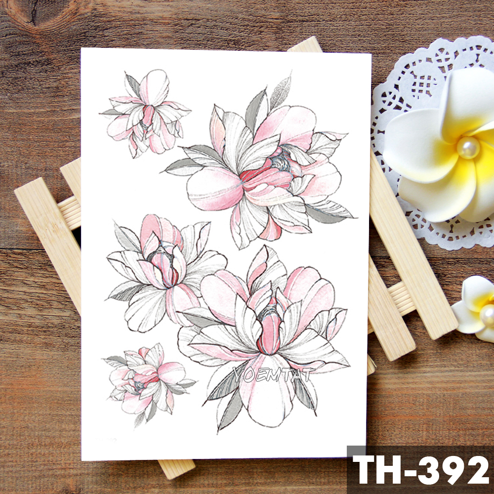 Sketch Flower Blossom Peony Rose Waterproof Temporary Tattoo Sticker Black Tattoos Body Art Arm Hand Girl Women Fake Tatoo 4