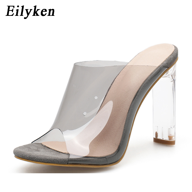 Image 4 - Eilyken New Women Slippers PVC Crystal Square heel Transparent Clear High heels Summer Slippers Sandals Pumps 11cm size 35 40-in Slippers from Shoes