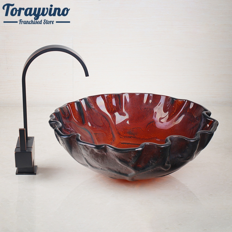 Torayvino Bathroom Waterfall Washbasin Lavatory Tempered Glass Basin Sink Combine Vessel Vanity Tap Mixer Faucet
