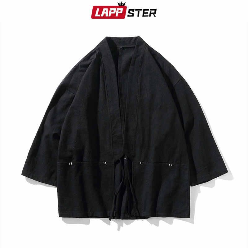 LAPPSTER 男性綿リネン原宿着物 2019 夏メンズヴィンテージルーズ男性夏中国風ベルト着物カーディガン
