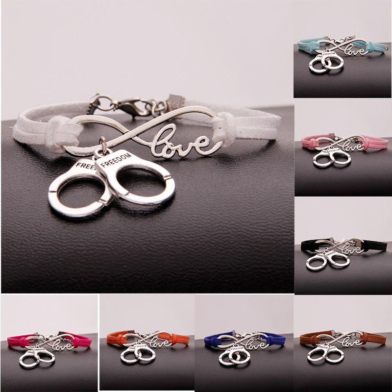 New Hot Stylish Christmas Gift Police Handcuffs Pendant Love Infinity Charm Leather Bracelet Women Men Handcuffs Wrist Jewelry