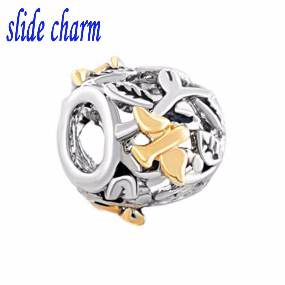 slide charm Free shipping Valentines Day gift for children and gilded Swallow DIY charm beads fit Pandora charm bracelets