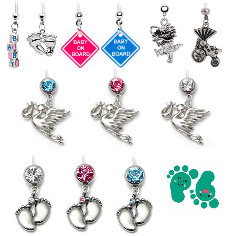 24pcs Mix Designs Baby On Board Belly Button Rings Pregnant Belly