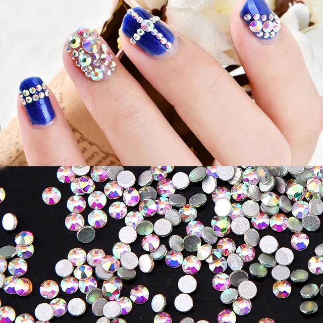 High Quality 1440PCS Glitter Rhinestones Crystal AB SS3-SS30 Non Hotfix Flatback Nail Rhinestones Strass Gem Nail Art Decoration