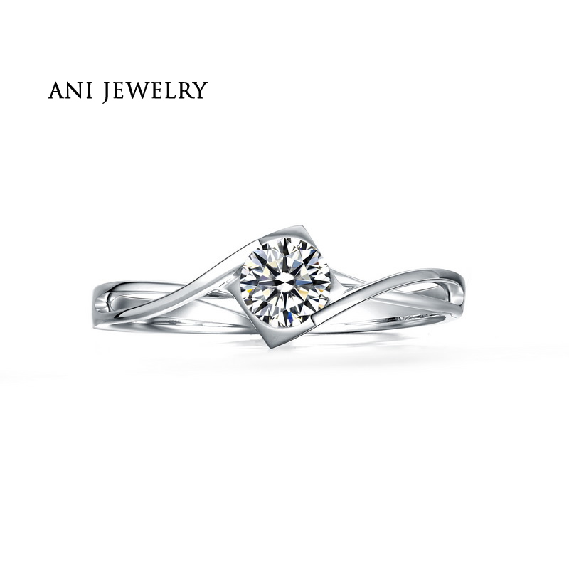 ANI 18K White Gold (AU750) Wedding Ring 0.50 CT Certified I/SI Natural Solitaire Round Cut Diamond Jewelry Twisted Bridal Rings ani 18k white gold au750 wedding ring 0 50 ct certified i si natural solitaire round cut diamond jewelry twisted bridal rings
