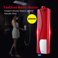 Tankless Water Heater Household Instant Shower Electric 3000W Elegant Water Heater For Kitchen Bathroom With Double