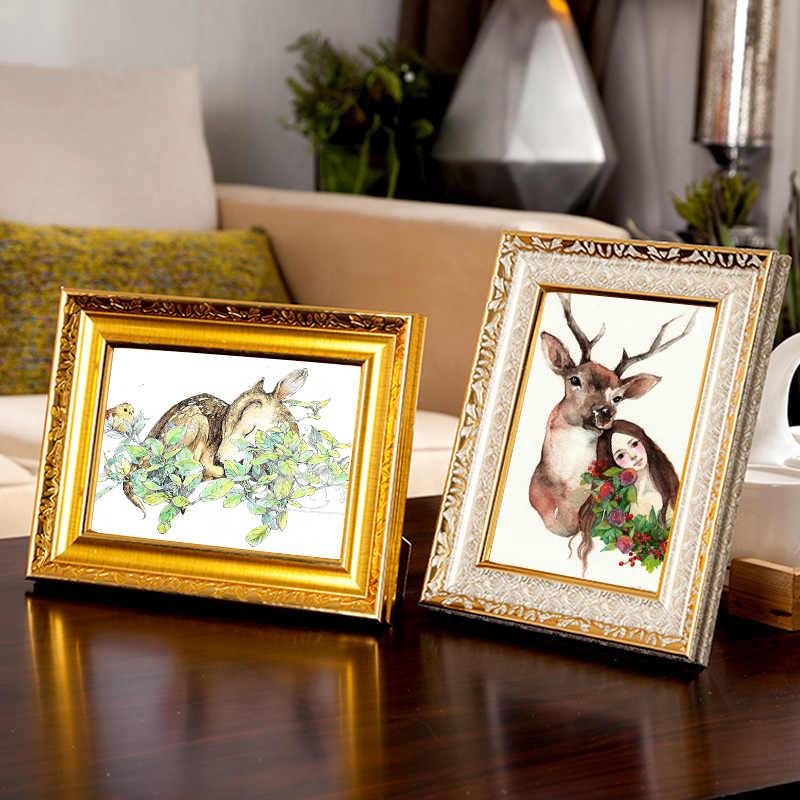 4 色品質ヴィンテージフォトフレームゴールド額縁ヨーロッパ家の装飾レトロ結婚式の写真フレームギフト机の装飾