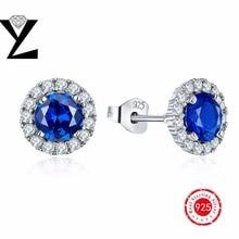 925-sterling-silver azul cristal con pendientes aaa cubic zirconia joyería al por mayor el mejor regalo del Día de San Valentín para las mujeres