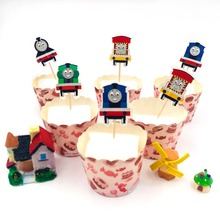 24pcs/set Thomas train Cupcake Topper Toothpick Party Supplies Happy Birthday Cake Decorations Baby Baking Tools