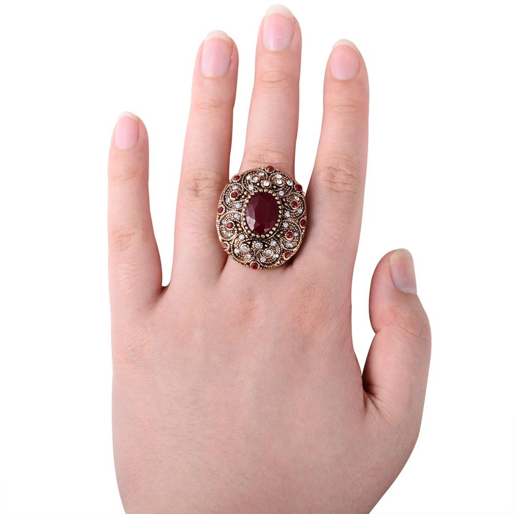 Joyme India Antique Ring Men Big Oval Red Resin Charm Roman Royal ...