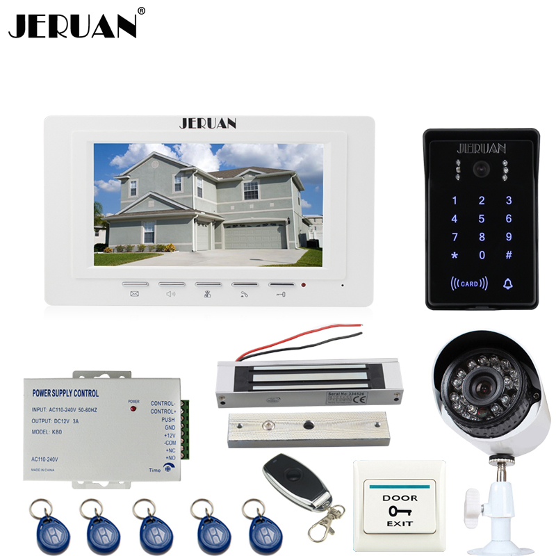 JERUAN white 7`` video door phone intercom System monitor waterproof Touch Key password keypad Camera+700TVL Analog Camera+lock jeruan 8 inch tft video door phone record intercom system new rfid waterproof touch key password keypad camera 8g sd card e lock