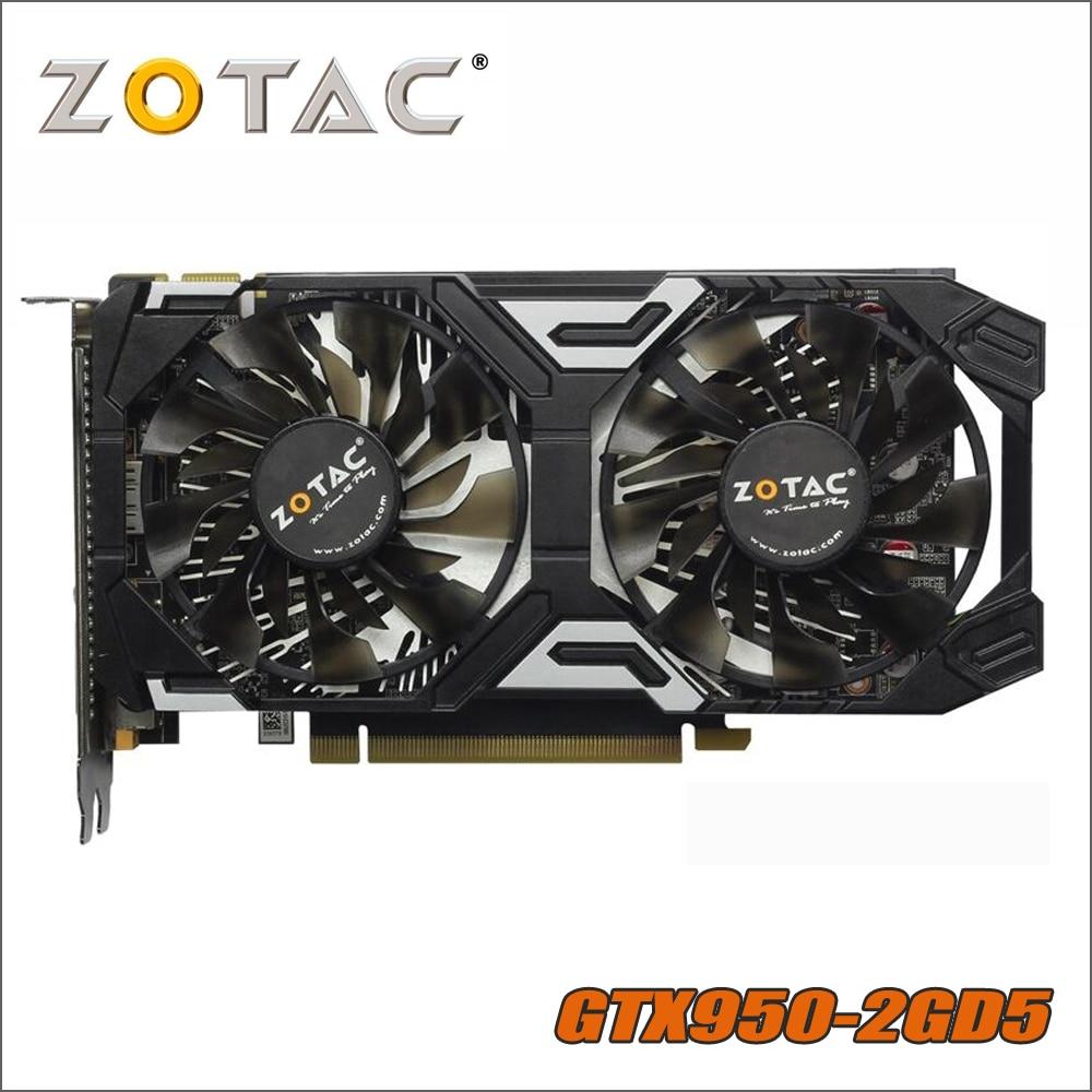 Verwendet Original ZOTAC GeForce GTX 950 2GD5 Donner Video Karte GDDR5 Grafiken Karten für nVIDIA GTX950 GTX 950 2 GB 1050ti 1050 ti