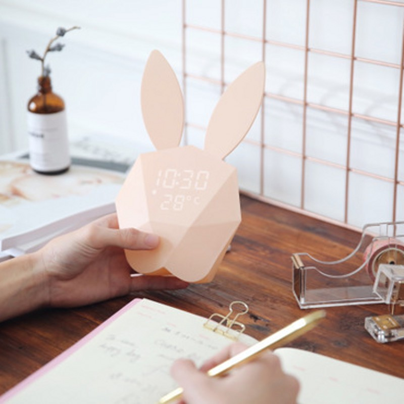 FENGLAIYI Cute Rabbit LED Digital Clock Alarm Mechanical Sound Night Light Thermometer Desk Wall Clock Holiday Decoration Gifts