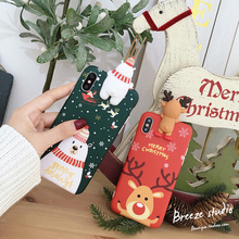 New Cartoon Christmas Elk Deer Phone Case For iPhone 6 6S 7 8 Plus X XS XR Max Xmas Snowman Soft TPU Back Cover Cases