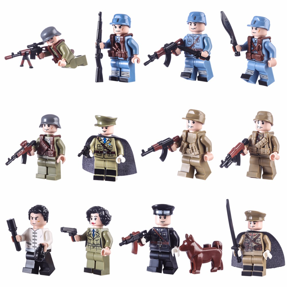 US $2 99 40% OFF|12pcs World War 2 WW2 Sino Japanese War Chinese Eighth  Route Army Military Building Block Toy figures Brick with Weapons Toys-in