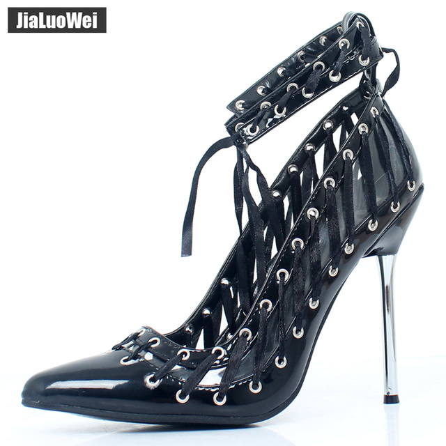 b72bd4a587e Jialuowei new summer womens high stiletto heel lace up sandals sexy fetish going  out court shoes