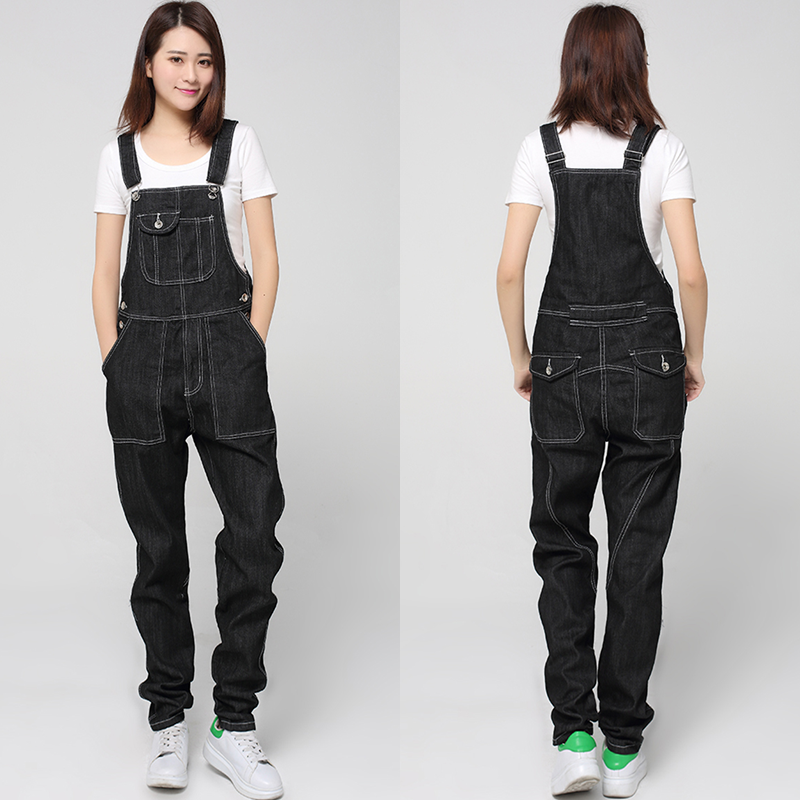 Free Shipping 2017 New Fashion Denim Bib Pants Loose Plus Size S-5XL Black Suspenders Trousers For Tall Women European Style alfani new black women s size small s mesh back high low ribbed blouse $59 259