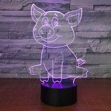 Lampa 3D Świnka Pig 7-Kolorów LED USB