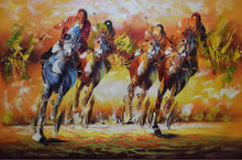 Hand Painted Modern Palette Knife Animal Oil Painting on Canvas Horse Racing Male Rider Wall Painting Picture for Living  Room